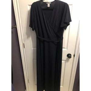 H&M navy Maxi Dress with Tie Size M